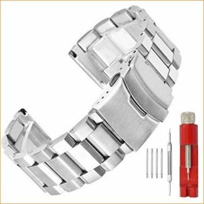 ブラシマット仕上げメタル時計バンド ステンレススチールブレスレットストラップ 18mm20mm22
