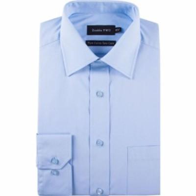 ダブルTWO Double Two メンズ シャツ トップス 100% Cotton Poplin Shirt Glacier