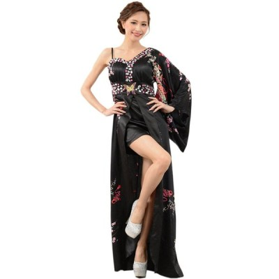 クリアランスバーゲン 花魁 コスプレ 和服ドレス 着物ドレス 送料無料 豪華ビジューサテン和柄ワンショルセクシー着物ロングドレス