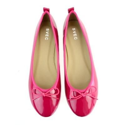 (SVEC/シュベック)バレエシューズ ぺたんこ ペタンコ フラットシューズ ラウンドトゥ パンプス 走れる 痛くない 美脚 楽ちん 低反発インソール結婚式シューズ レディース 靴 フ/レディース ピンク