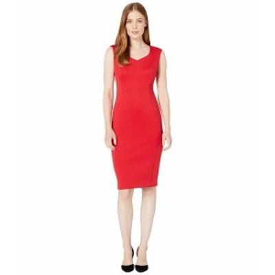カルバンクライン レディース ワンピース トップス Sweetheart Neck Sheath Dress Red