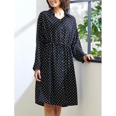 梨地ジョーゼットドットプリントシャツワンピース (ワンピース)Dress