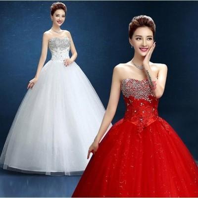 !刺繍ウェディングドレス 豪華なウェディングドレス☆ロングドレス☆ ☆格安結婚式二次会パーティー披露宴 ビスチェドレス