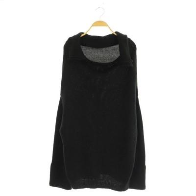 【中古】アンティカ antiqua 襟デザインニット 長袖 黒 /MY ■OS レディース 【ベクトル 古着】