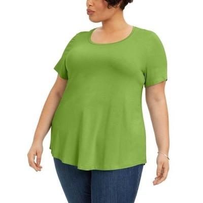 ジェイエムコレクション カットソー トップス レディース Plus Size Short-Sleeve Top, Created for Macy's Parrot Green