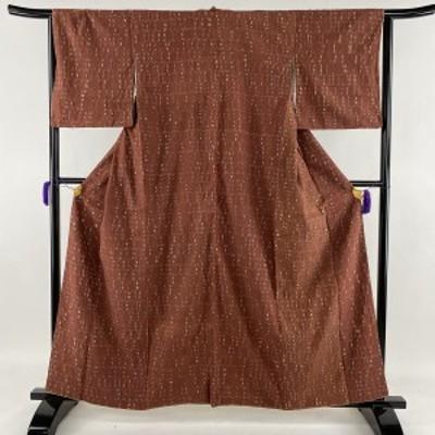 小紋 名品 縫い締め絞り 赤茶 袷 身丈161cm 裄丈65.5cm M 正絹 中古
