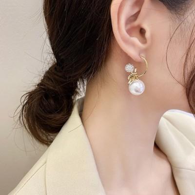 【即納あり】3WAYフープピアス パール ゴールド 韓国系 ファッション レディース