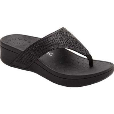 バイオニック スニーカー シューズ レディース Naples Thong Sandal (Women's) Black Leather/Synthetic