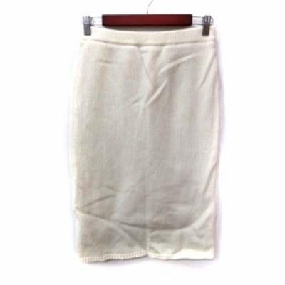 【中古】ケイビーエフ アーバンリサーチ ニットスカート タイト ミモレ ロング  ウール ONE 白 オフホワイト
