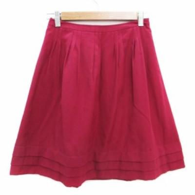 【中古】ロペ ROPE スカート フレア ひざ丈 7 ワインレッド 赤 /FF45 レディース