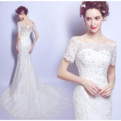 ウェディングドレス 結婚式 披露宴 二次会 パーティードレス 優雅プリンセスドレス 可愛い刺繍 アンピール ウエディングドレス