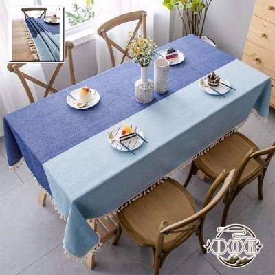 テーブルクロス テーブルカバー 北欧 綿麻 水洗い フリンジ付き 厚手 耐熱/防汚/耐久手入れ簡単 多用途 インテリア 撮影背景 多用途