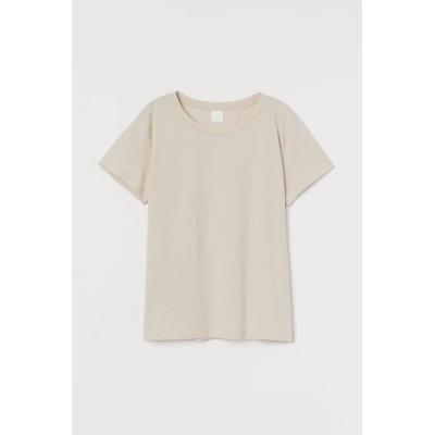H&M - コットンTシャツ - ベージュ