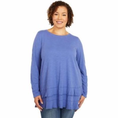 モドオードック Mod-o-doc レディース 長袖Tシャツ 大きいサイズ トップス Plus Size Slub Jersey Asymmetrical Long Sleeve Flounce Hem