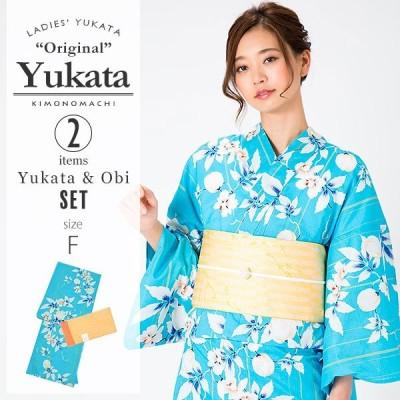 浴衣 レディース セット KIMONOMACHI 「ブルー 風船かずら」 F  綿ss2106ykl50
