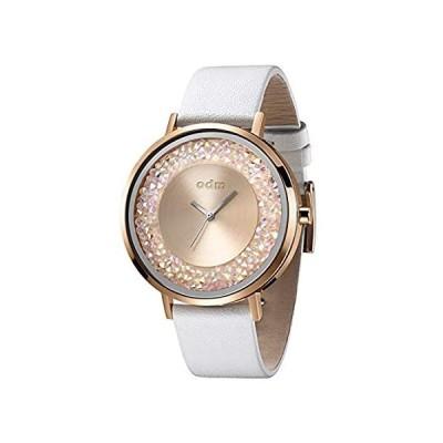 【新品】O.D.M. レディース腕時計 スワロフスキーダイヤル ローズゴールドケース レザー アナログクォーツ腕時計 DD180 White-rosegold
