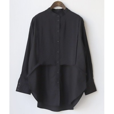 【リアルキューブ】 ブロード×ポプリンドッキングシャツ レディース ブラック M REAL CUBE
