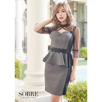 キャバドレス キャバ ドレス 大きいサイズ ソブレ ミニ ワンピ 2102108 細魅せ配色ペプラムワンピース