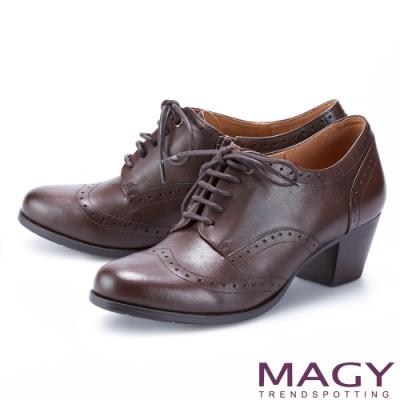 MAGY 經典花邊綁帶真皮中跟 女 牛津鞋 咖啡