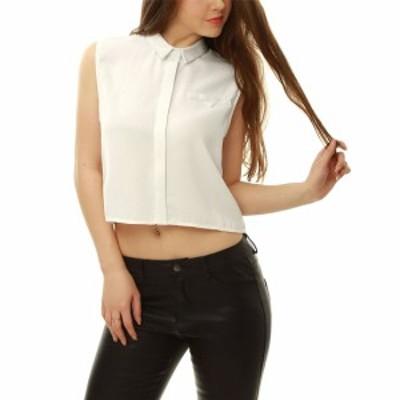 Allegra K トップス シャツ ブラウス ノースリーブ ショート 無地 ファッション レディース ホワイト XL