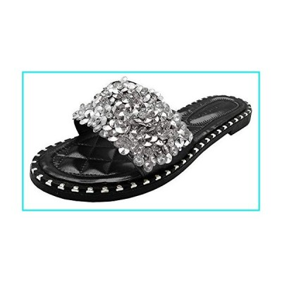 Wild Diva Women's Open Toe Fashion Flat Sandal Rhinestone Slip-On Flip Flop (7 M US, Black PU)【並行輸入品】