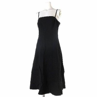 【中古】セオリー theory ワンピース ドレス フレア 膝丈 キャミ ノースリーブ 16SS 無地 黒 ブラック 2 レディース