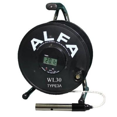 ロープ式水位計 30m Aセンサー ブザー赤色ランプ温度計付:WL30-TYPE3A