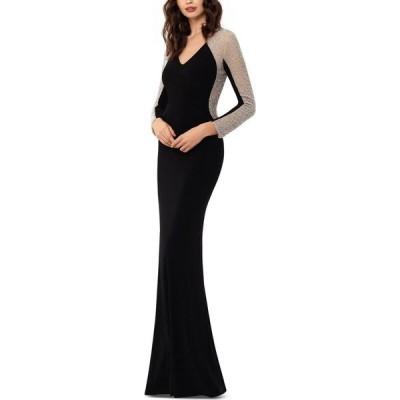 エックススケープ XSCAPE レディース パーティードレス ワンピース・ドレス Petite Embellished-Mesh Gown Black/Nude