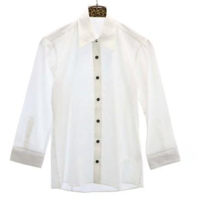 新品 タグカット品 七分袖 シャツ 白  レオパード メンズ  200727 メール便可