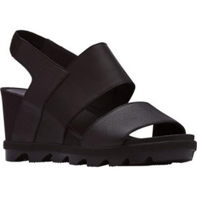 ソレル Sorel レディース サンダル・ミュール ウェッジソール シューズ・靴 Joanie II Wedge Heeled Slingback Black Full Grain Leather