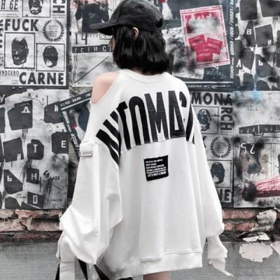 トレーナー レディース トップス 春 春物 長袖 ミディアム丈 クルーネック オープンショルダー バックロゴ 【 送料無料 】