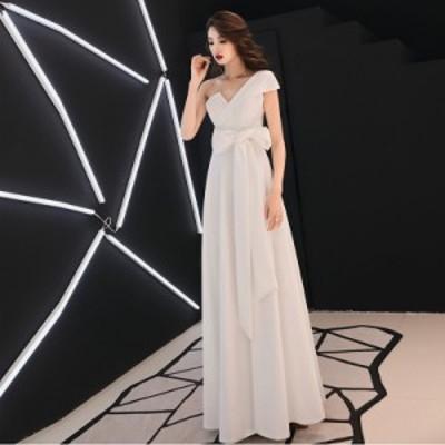 ウェディングドレス 白 二次会 花嫁 大きいサイズ 3L 4L ウエストリボン 結婚式 小さいサイズ ワンショルダー ノースリーブ ハイウエスト