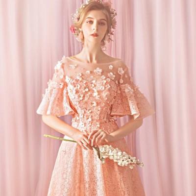 ピンク 半袖 編み上げタイプ 刺繍 透け感 Aライン スレンダーライン ボートネック ロングドレス 演奏会 パーティー 結婚式 二次会 大きいサイズ レース 福袋