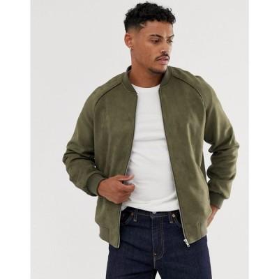 エイソス ASOS DESIGN メンズ ブルゾン アウター faux suede bomber jacket in khaki Khaki