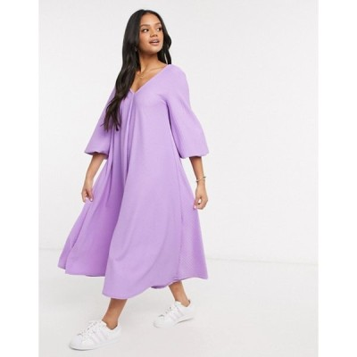 エイソス レディース ワンピース トップス ASOS DESIGN textured smock midi dress with v neck in violet