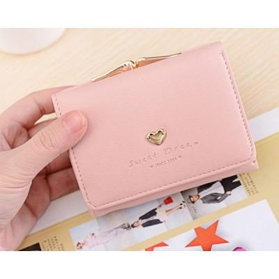 ハートのがま口サイフ 出し入れしやすい小銭入れ付き 三つ折り財布 カード多数収納 1万円札も収納 ピンク