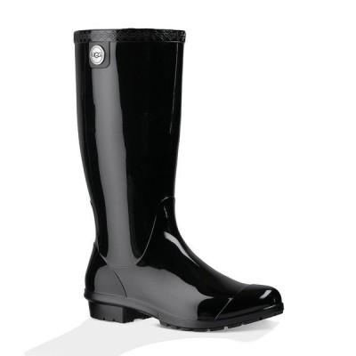 アグ レディース ブーツ&レインブーツ シューズ UGG Women's Shaye Rubber Shearling Lined Glossed Waterproof Rain Boots Black