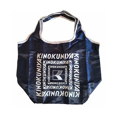 KINOKUNIYA コンパクトバッグ エコバッグ (ネイビー x ライトグレー)