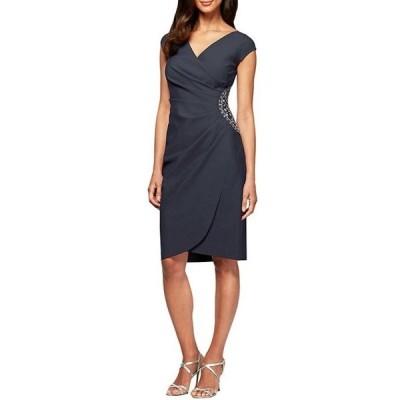 アレックスイブニングス レディース ワンピース トップス Petite Size Beaded Bodice Cap Sleeve Sheath Dress