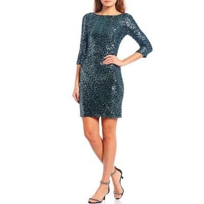 ジェシカハワード レディース ワンピース トップス Petite Size 3/4 Sleeve Side Ruched Sequin Sheath Dress