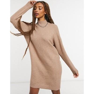 オンリー レディース ワンピース トップス Only high neck sweater dress in brown