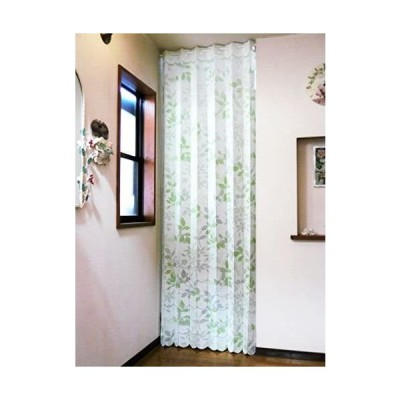 遮熱断熱 間口を仕切って冷暖房効率アップ ロングアコーディオンカーテンのれん「リーフ」 幅105×丈250cm (グリーンリーフ)(グリーンリーフ)