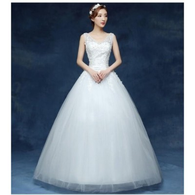 Vネック 結婚式 ブライダル 冠婚 ワンピース イブニングドレス ロング フォーマル 二次会 パーティードレス 花嫁 プリンセスライン 着痩せ ウエディングドレス