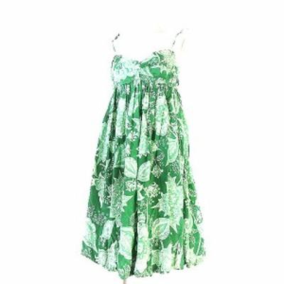 【中古】ザラウーマン ZARA WOMAN ワンピース キャミ ワンピ 花柄 総柄 シルク 膝丈 フレア バルーン 緑 M レディース