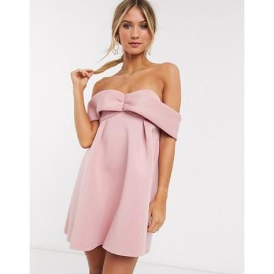 エイソス レディース ワンピース トップス ASOS DESIGN bardot babydoll mini skater dress in blush