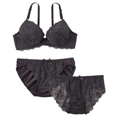 レーシーデザイン 3点セット(ブラジャー。ショーツ。バックレースショーツ) (ブラジャー&ショーツセット)Bras & Panties