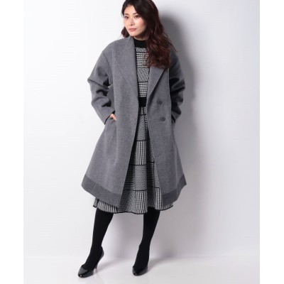 (INTERPLANET/インタープラネット)ニットメルトン裾配色スタンドカラーコート/レディース グレー