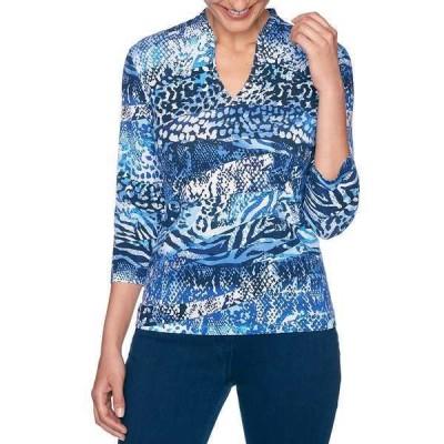 ルビーロード レディース Tシャツ トップス Embellished V-Neck Mixed Animal Print 3/4 Sleeve Top Navy Multi