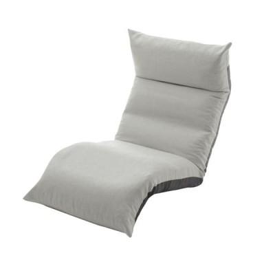 リクライニング フロアチェア/座椅子 〔グレー〕 幅54cm 日本製 折りたたみ収納可 スチールパイプ ウレタン 〔リビング〕〔代引不可〕