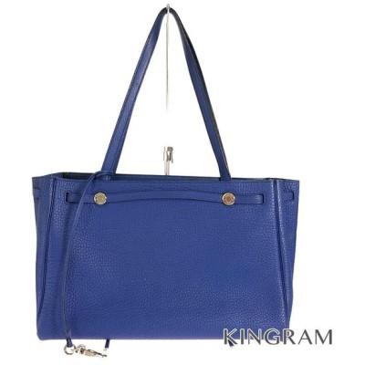 エルメス カバナ  □F刻印 2002年製 ハンドバッグ ブルー トゴ トートバッグ fsk【中古】